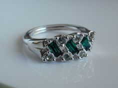 Vintage Silver Tone Avon Ring Green and White by cutterstone, $5.00