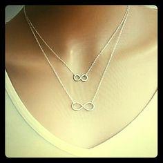 Infiniti Doube Chain Necklace Silvertone (alloy) Infinity double chain necklace. Jewelry Necklaces