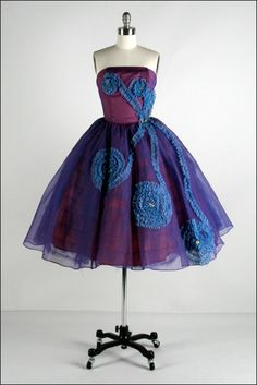 Vintage 1950s Dress  Purple Chiffon  Tulle  by millstreetvintage, $225.00