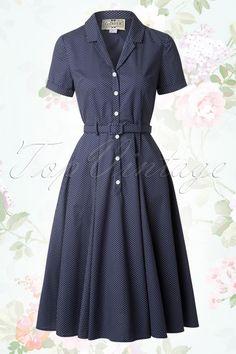 Collectif Clothing Catherina Polka Dot Shirt Swing Dress Navy Blue 14753 20141213 0018W2
