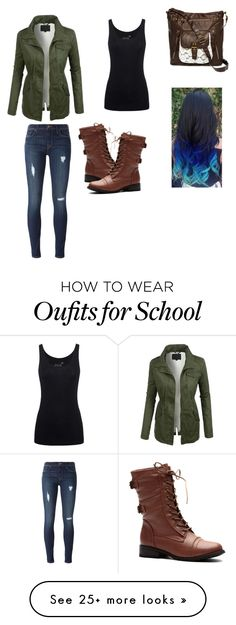"""""""School"""" by ravekait on Polyvore featuring LE3NO, Juvia, Hudson and T-shirt & Jeans"""