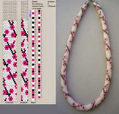 Funky Pop Art Looking Roses Bead Crochet Rope. I like the colors in the picture below the pattern . Change all colors around for different funky looks. Crochet Bracelet Pattern, Crochet Beaded Bracelets, Bead Crochet Patterns, Bead Crochet Rope, Beading Patterns, Beaded Crochet, Bead Jewellery, Beaded Jewelry, Handmade Jewelry