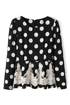 ROMWE   ROMWE Dots Print Falbala Lace Black Blouse, The Latest Street Fashion