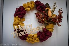 Thanksgiving Burlap Wreath- an easy and adorable way to add some Thanksgiving to your door!