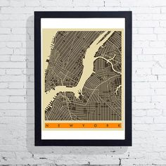 East End Prints - New York Map Framed Print - White Frame - Black/White/Orange Map Of New York, East London, Limited Edition Prints, Framed Art Prints, Beautiful Homes, Brixton, Black And White, A3, Blanco Y Negro