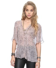 Printed Lace Trapeze Shirt (forever 21)