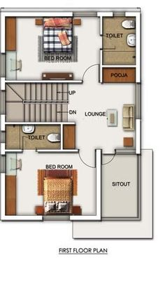 A Duplex house plan is for a single-family home that is built in two floors having one kitchen and dining. The duplex house plan gives a villa look and feel in small area. 2bhk House Plan, Narrow House Plans, 3d House Plans, Indian House Plans, Small House Floor Plans, Model House Plan, House Layout Plans, Dream House Plans, House Floor Design