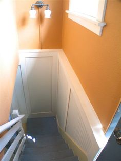 Wainscoting idea for basement stairs