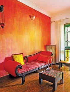 Living Room Orange Ombre Paint Walls Ideas