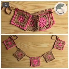1.-Guirnalda de 5 banderines granny square tejidos a crochet con hilo de algodón color rosado y café.  1.4 mt de largo