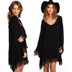 Fashion Ladies Women Casual Long Sleeve Lace Patchwork Loose Mini Party Dress