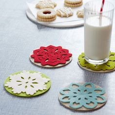 Felt Snowflake Coasters  Contrasting felt (for the base, felt coasters, for the snowflakes, felt sheets) make stunningly simple holiday accents. Our free download offers five snowflake designs that you can cut and glue to create unique coasters.