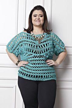 Katia Ribeiro Moda & Decoração Handmade: Blusa Verde Plus Size em Crochê de Grampo ( Receita e Gráficos )