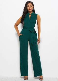 Green Button Front Sleeveless Self Belt Wide Leg Going Out Jumpsuit - The top trends to try in 2019 Bodycon Jumpsuit, Jumpsuit Style, White Off Shoulder Dress, Social Media Trends, Green Button, Online Shopping Clothes, Formal, Going Out, Wide Leg