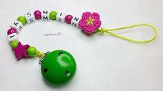 Schnullerkette Stern Blume Wunschname Baby md170 von myduttel auf DaWanda.com