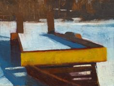 """Frank Hobbs: """"Yellow Trailer,"""" oil on canvas, 28 x 32 in. Private Collection"""