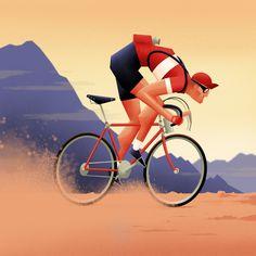 jpg by Matthew Fleming Cycling Art, Cycling Jerseys, Bike Illustration, Illustration Styles, Blue Rider, Bike Art, Inktober, Character Design, Banner