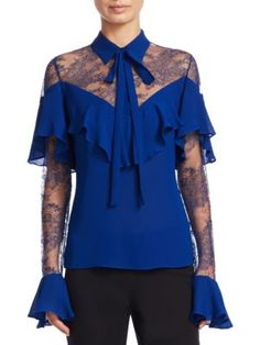 ELIE SAAB Crepe Lace Top. #eliesaab #cloth #