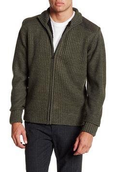 Ribbed Fleece Zip-Up Cardigan