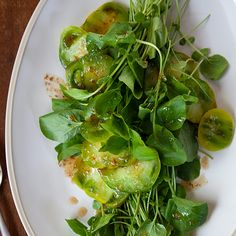 This super simple five-ingredient salad combines the freshness of watercress and green tomatoes with the savory, comforting taste of browned butter.Recipe: Watercress and Green Tomatoes in Browned Butter Watercress Recipes, Best Asparagus Recipe, Watercress Salad, Wine Recipes, Food Network Recipes, Salad Recipes, Food Processor Recipes, Vegan Recipes, Savoury Recipes