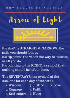 I made this printable for our Arrow of Light ceremony. I made this printable for our Arrow of Light ceremony. Cub Scouts Wolf, Tiger Scouts, Scout Mom, Girl Scouts, Cub Scout Crossover Ceremony, Arrow Of Light Ceremony, Arrow Of Light Award, Eagle Scout Ceremony, Cub Scout Activities