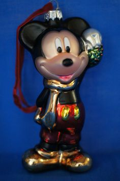 Mickey Mouse Blown Glass Christmas Ornament Figurine Disney Store 2007 #DisneyStore #Ornament