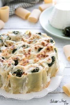 Paccheri ripieni di ricotta e spinaci Quiche, Pizza, Entertaining, Breakfast, Recipes, Oven, Lasagne, Baking, Morning Coffee