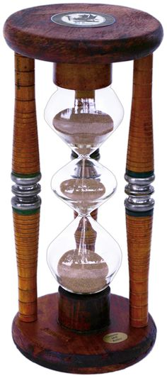 Three Tier Five Minute Antique Wood Sand Timer - 9 Inches Tall    This three tier five minute timer has a history as unique as its style. The timer is composed of antique wood spools found in abandoned textile mills in England. The spools were used to hold thread, cotton, and yarn that were spun into fabric. The spindles and wooden base date back to 1907-1913 and were used in a factory in Calder Valley, Yorkshire which wove the thread into a cotton tartan fabric.