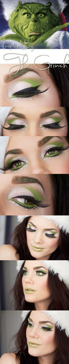 Colorful green and black crystal accented make-up inspired by Dr. Seuss' The Grinch by Linda Hallberg.