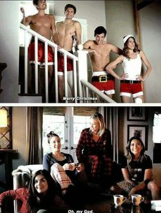 Caleb Toby Ian & Paige on the stair while Aria Spencer Hanna & Emily on the couch looking at them