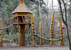 Fantastic Swedish playground - check the notched steps for climbing the poles and the way the rope structures interconnect - a child could spend hours climbing this structure, taking a different route every time.