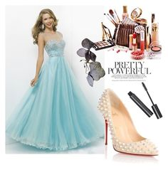 A-line Scoop Sleeveless Tulle Prom Dress With Beaded by johnnymuller on Polyvore featuring Christian Louboutin