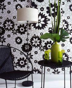 Graham & Brown flower power black wallpaper