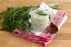 Sos de mărar în 3 feluri Vegetarian Recipes, Cooking Recipes, Dill Sauce, Tapenade, Tzatziki, Moscow Mule Mugs, Greek Yogurt, Barbecue, Dips