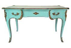 Blue Louis XV-Style Bureau Plat with ormolu mounts.  Finished on all sides, so it can float.  $1595 - SOLD - on OneKingsLane.com