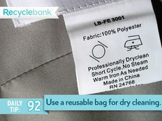 Save plastic. Grab a reusable bag for dry cleaning.