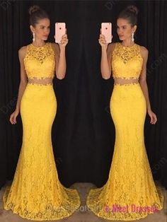 2 Piece Prom Gown,Two Piece Prom Dresses,2 Pieces Party Dresses,Lace Evening Gowns,Formal Dress For Teens PD20182011