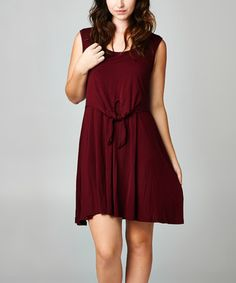 Another great find on #zulily! Burgundy Tie-Front Sleeveless Dress - Plus by Tua Plus #zulilyfinds
