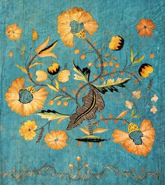 Detail of embroidered altar frontal with motive of flower twigs by Anonymous from Poland, first half of the 18th century (PD-art/old), Muzeum Uniwersytetu Jagiellońskiego (MUJ)