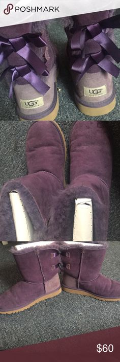 Purple uggs Cozy, purple uggs. The right boot is stained at the front. Feel free to ask for more pictures. Price is negotiable. UGG Shoes