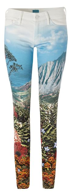 One of my favorite new designers.    Printed jeans by Mother #denim.