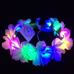 Rainbow-LED flower crown/floral headband, light up flower... ($28) ❤ liked on Polyvore featuring accessories, hair accessories, floral headwrap, head wrap hair accessories, garland headband, ribbon headband i floral hair accessories