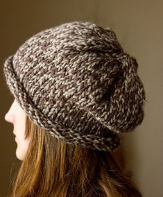 Big needles and big yarn make this hat a quick knit, statement piece.