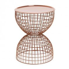 Hourglass Copper Tray Table  Linear form meets modern function in this hourglass shaped, copper plated iron table with a removable tray top. Made in small quantities with great attention to detail, impeccable craftsmanship results in a truly distinctive piece.