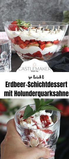 Super leckeres Erdbeerdessert mit Biskuit und Holunderblütencreme. Das Rezept für den köstlichen Erdbeertraum bzw. das Schichtdessert gibt es auf Castlemaker.de Snacks, Super, Drinks, Breakfast, Foodblogger, Photography, Fish Dishes, Elder Flower, Drinking