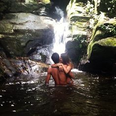 cute couple partners two girl boy love romance kiss kissing hug hugging holding river waterfall summer