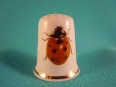 Thimble porcelain  Bone China with Ladybird by EgiArt on Etsy, $2.00