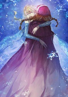Tags: Anime, Sisters, Blue Dress, Twin Braids, Disney, Saberiii, Frozen (Disney)
