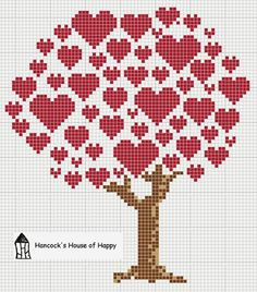 hancock's house of happy: Heart Tree Cross Stitch Chart for Valentines                                                                                                                                                                                 More