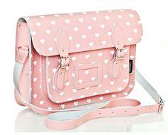 Pink Love Hearts Satchel | Leather Satchel - Zatchels